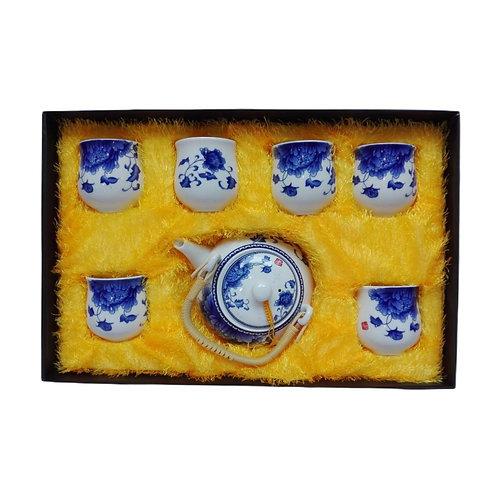 Juego  de Cerámica Flor Azul 7 piezas