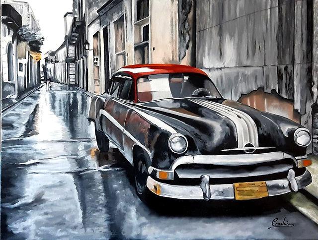 Imagen de pintura al óleo. Cuba. Coche.