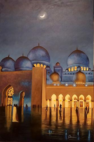 Pintura al óleo de la Mezquita Sheikh Zayed. Abu Dabi