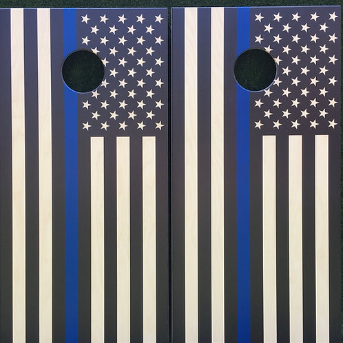 Cornhole Game-Thin Blue Line American Flag
