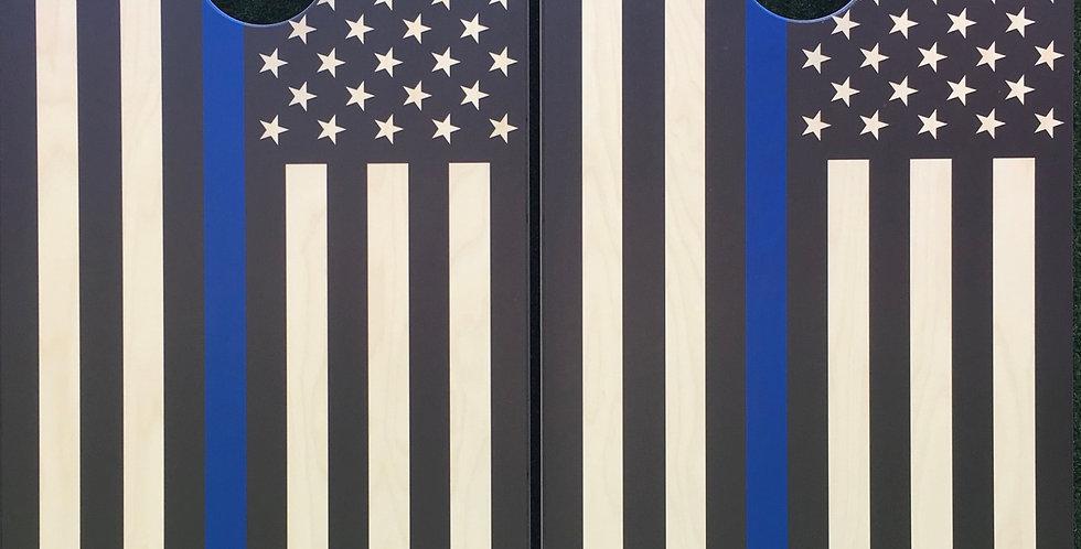 Cornhole Game-Thin Blue Line American Flag