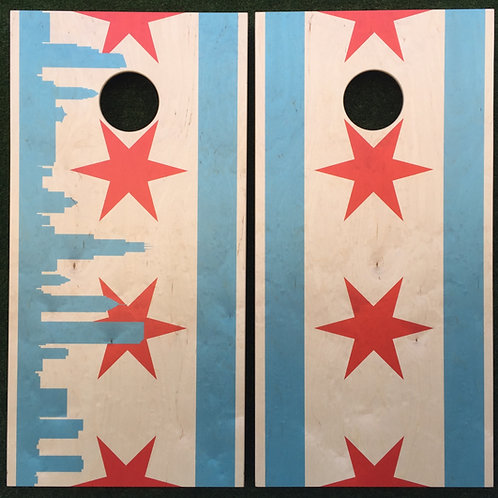 Cornhole Game-Chicago Flag Skyline