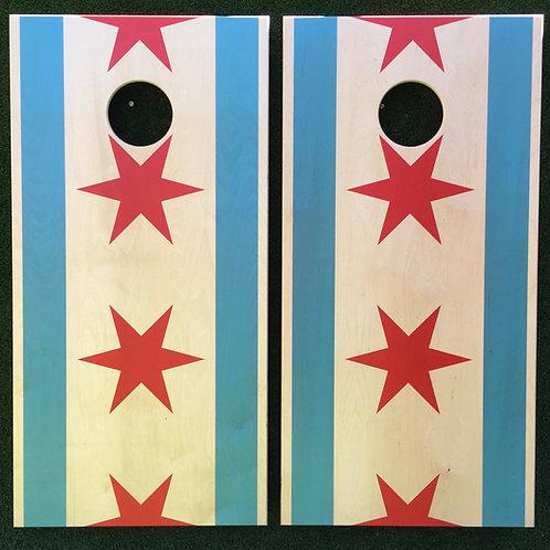 Cornhole Game-Chicago Flag