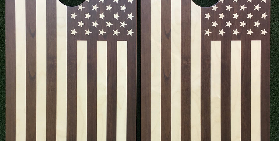 Cornhole Game-Walnut American Flag