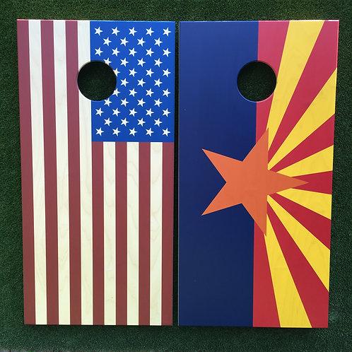 Cornhole Game-Arizona & USA Flag