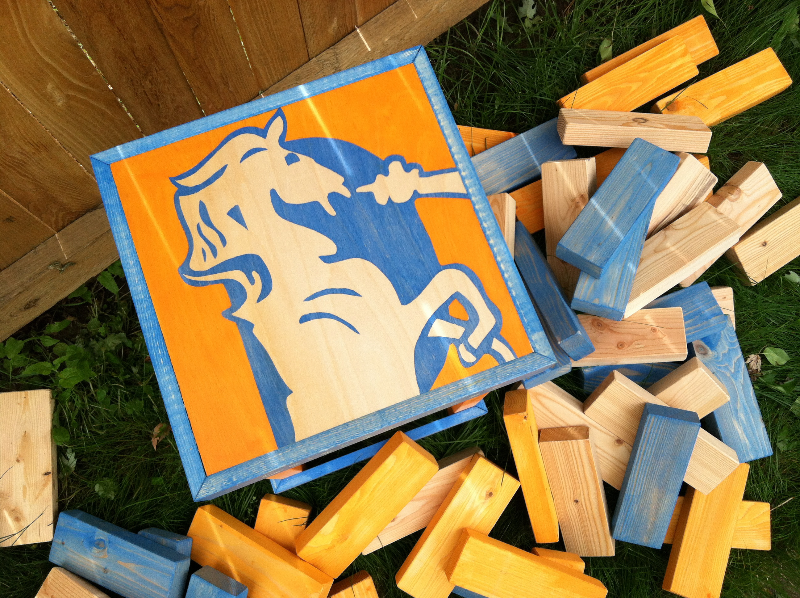 Old School Broncos Jenga