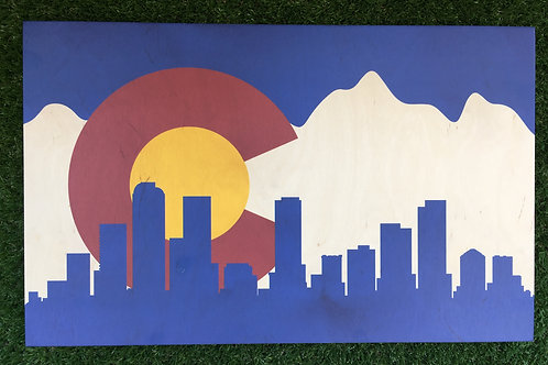 Colorado Flag with Denver Skyline
