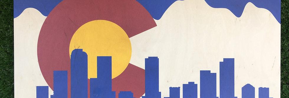 Colorado Flag with Denver Skyline