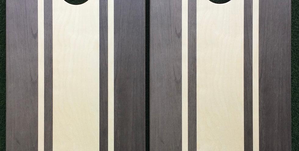 Cornhole Game-Grey Stripes with Monogram