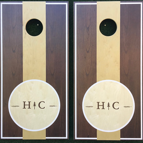 Cornhole Game-Walnut Monogram with Evergreen
