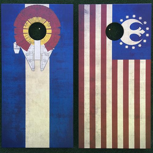 Cornhole Game-Star Wars Colorado and USA Flag