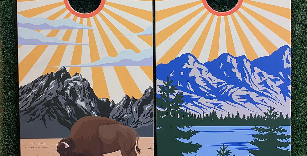 Cornhole Game-Wyoming and Colorado Sunburst