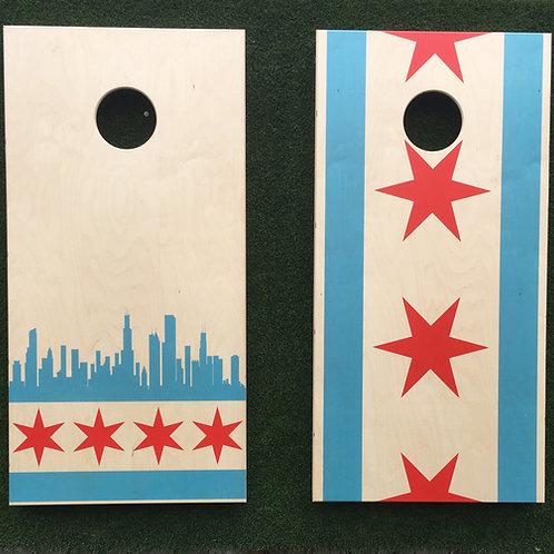 Cornhole Game-Chicago Flag & Skyline