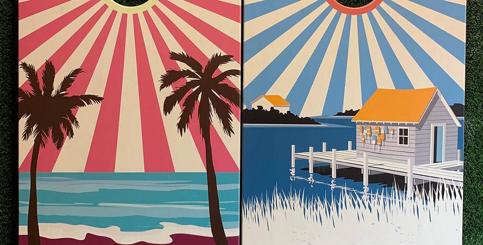 Cornhole Game-Florida and Maryland Sunburst