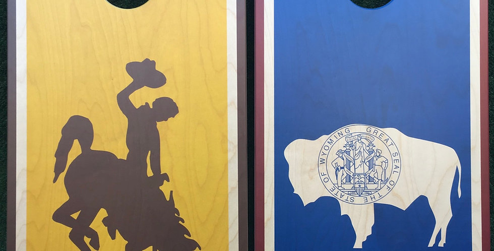 Cornhole Game-Wyoming Flag and  Wyoming Steamboat