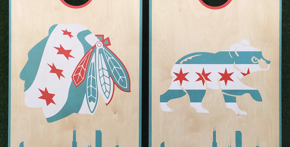 Cornhole Game-Chicago Blackhawks and Cubs