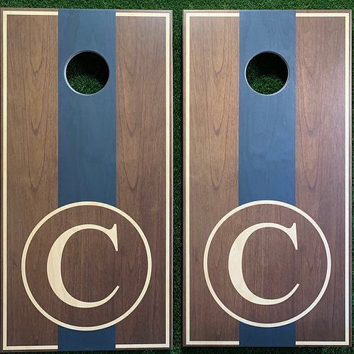 Cornhole Game-Walnut and Navy Monogram