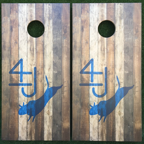 Cornhole Game-Reclaimed Wood with Ranch Logo