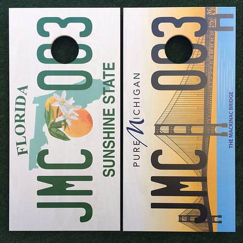 Cornhole Game-Michigan and Florida License Plates
