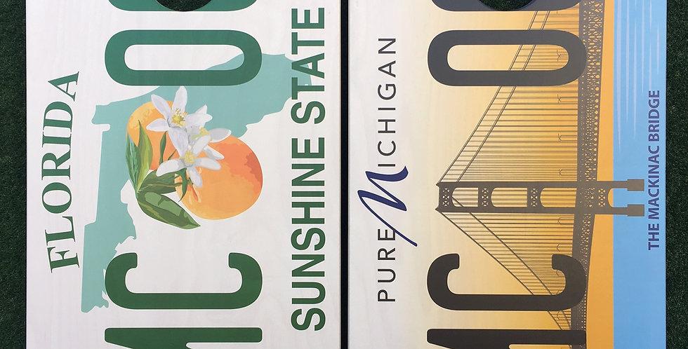 Cornhole Game-Michigan and Florida License Plates