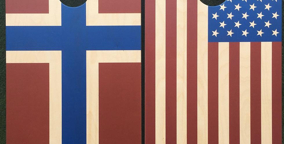 Cornhole Game-Norway and USA Flag