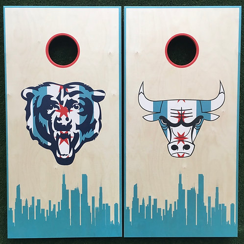 Cornhole Game-Chicago Bulls and Bears