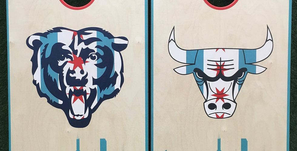 Cornhole Game-Chicago Bulls and Bears