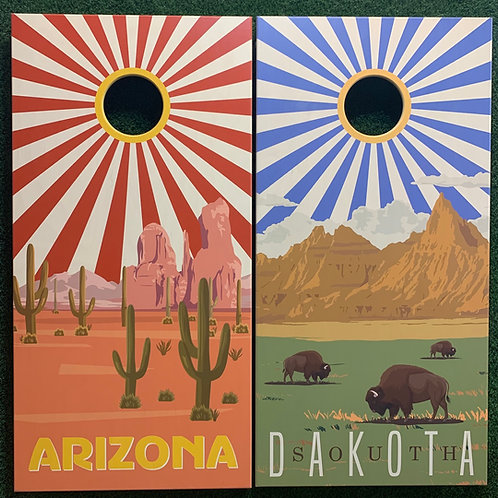 Cornhole Game-Arizona and South Dakota Sunburst