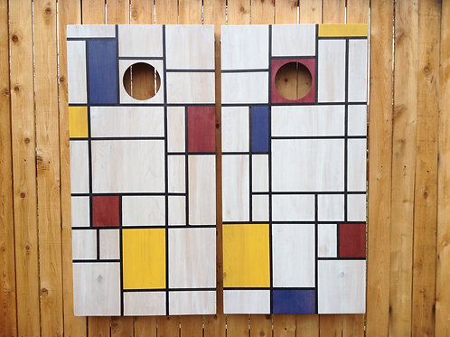 Cornhole Game-Mondrian Inspiration