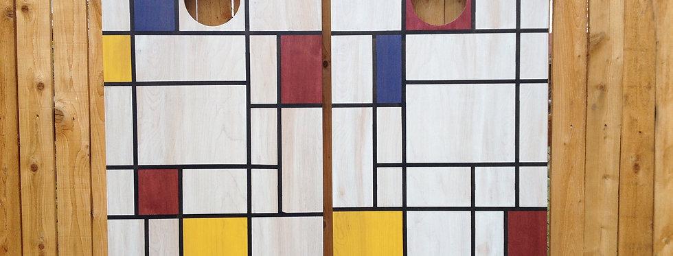 Cornhole Game-Mondrian Inspiration