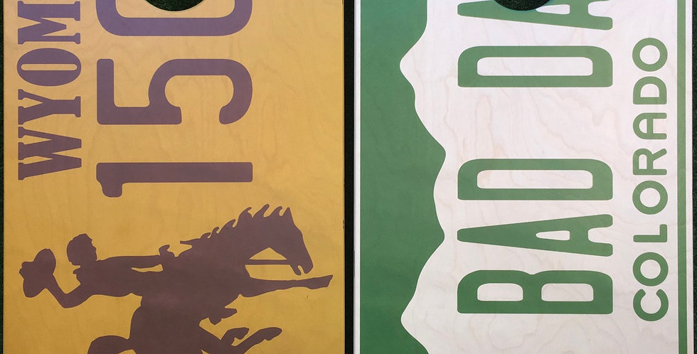 Cornhole Game-Wyoming and Colorado License Plate