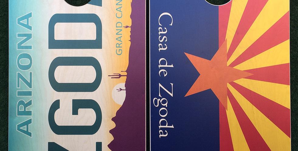 Cornhole Game-Arizona License Plate and Flag