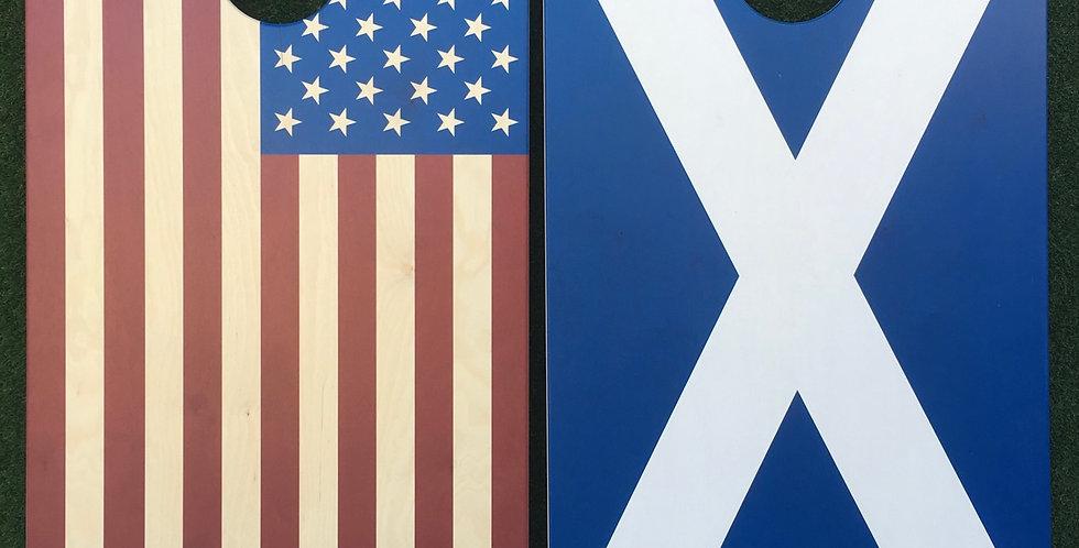 Cornhole Game-Scotland and USA Flag