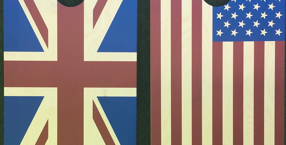 Cornhole Game-American and Union Jack Flags