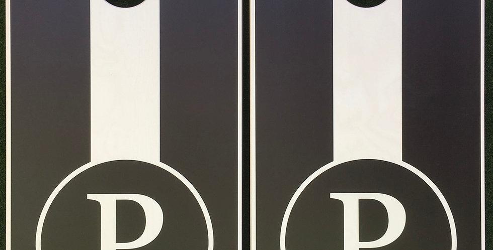Cornhole Game-Black & White Monogram