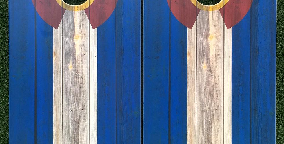 Cornhole Game-Blue Wood Colorado Flag