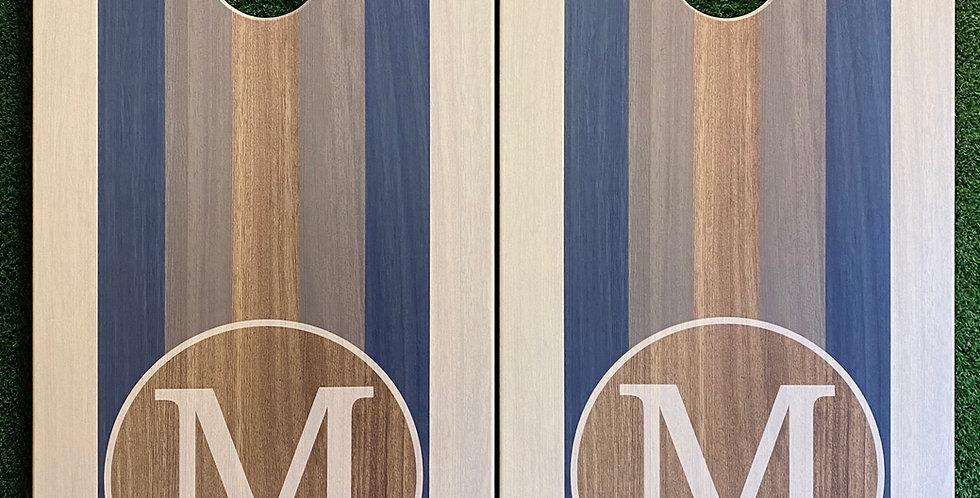Cornhole Game-Mid Century Stripe Monogram