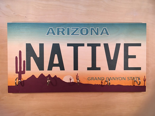 Native Arizona License Plate Key Holder