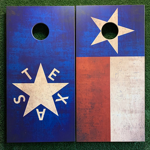 Cornhole Game-Texas Flag and Republic of Texas Flag Distressed