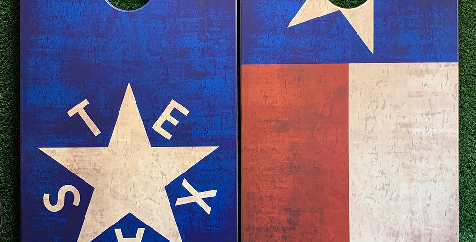 Cornhole Game-Texas Flag and Republic of Texas Flag Distressed