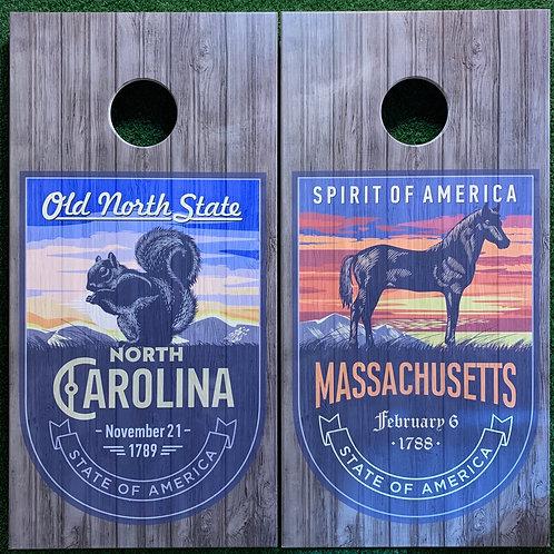 Cornhole Game-Rustic North Carolina and Massachusetts
