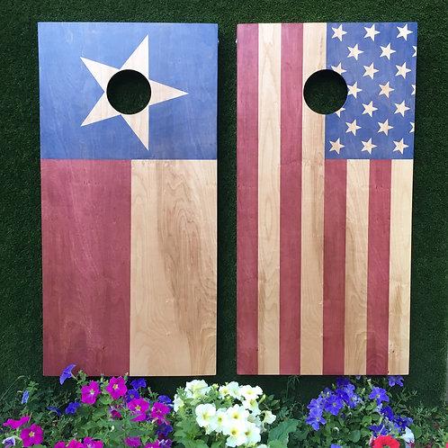 Cornhole Game-USA Flag and Texas Flag