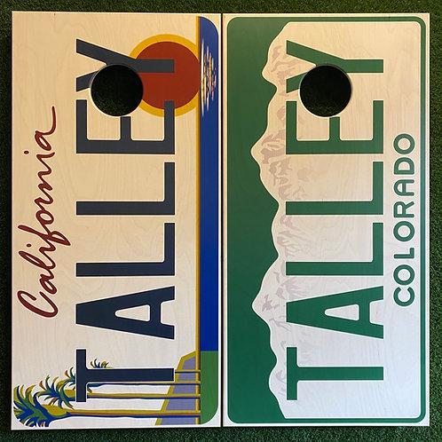 Cornhole Game-California and Colorado License Plates