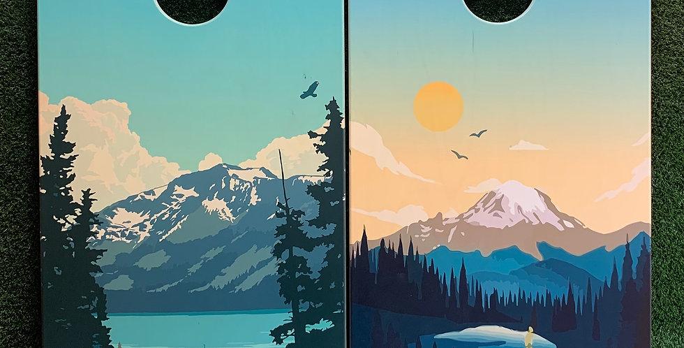 Cornhole Game-Lake Tahoe and Mount Rainier