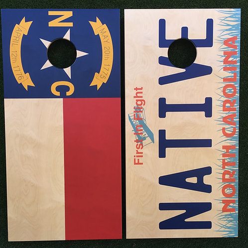 Cornhole Game-North Carolina flag & Native Plate