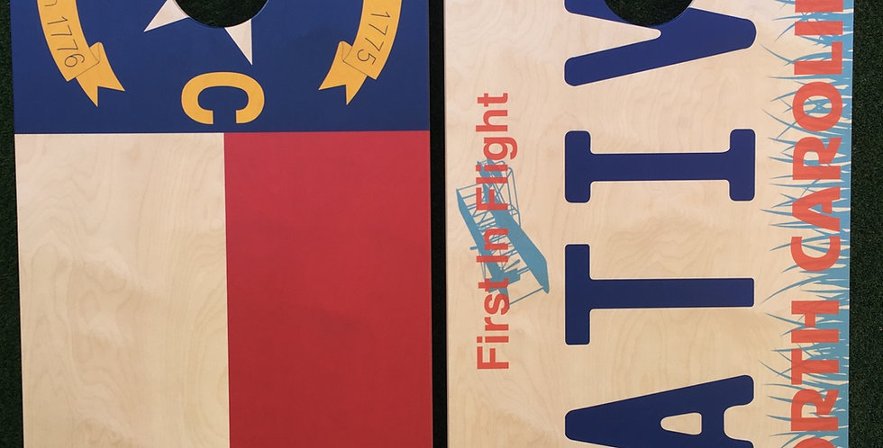 Cornhole Game-North Carolina flag & Native Plate