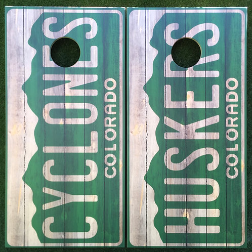 Cornhole Game-Colorado Rustic License Plate