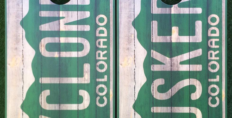 Cornhole Game-Colorado Rustic License Plate