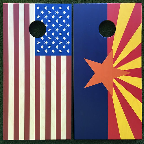 Cornhole Game-Arizona & USA Flag