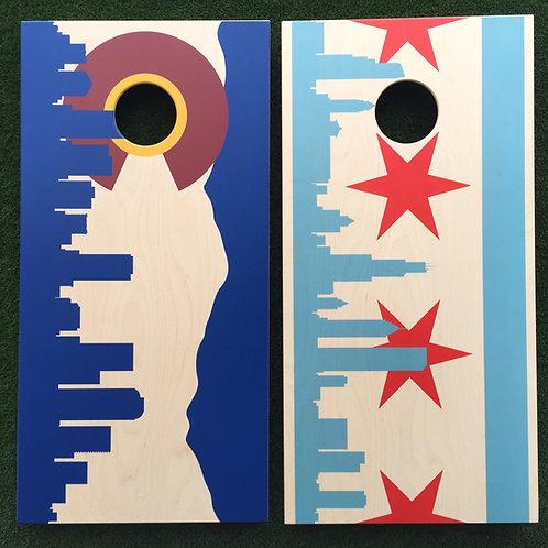 Cornhole Game-Chicago and Denver Skyline Flags